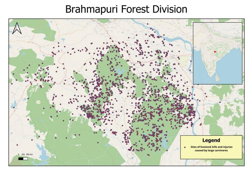 The map of Brahmapuri Forest Division in Chandrapur District shows the spread of reported livestock kills and injuries by wild carnivores between 2014 and 2018 as per the Forest Department data specific to WCT's area of study in the state of Maharashtra, India.