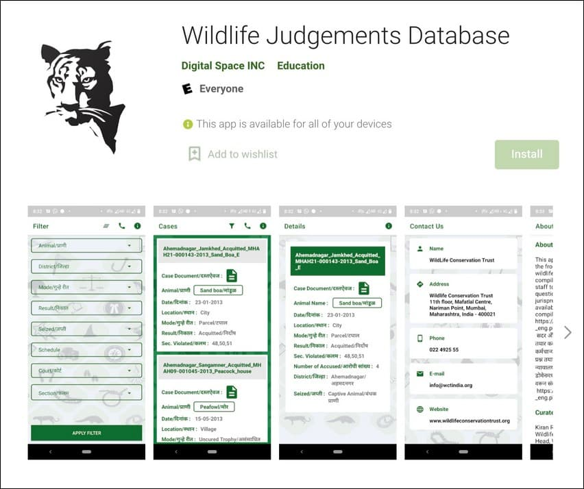WCT's 'Wildlife Judgements Database' app is available on Google Play Store.